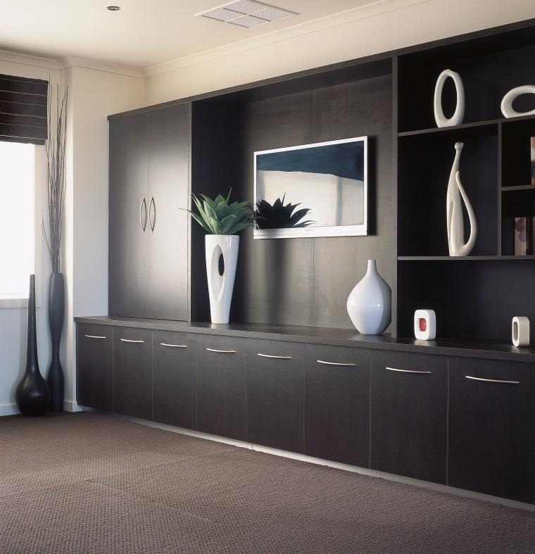 view of the custom unit wall cabinets flooring, furniture, interior design, shelving, gray, black