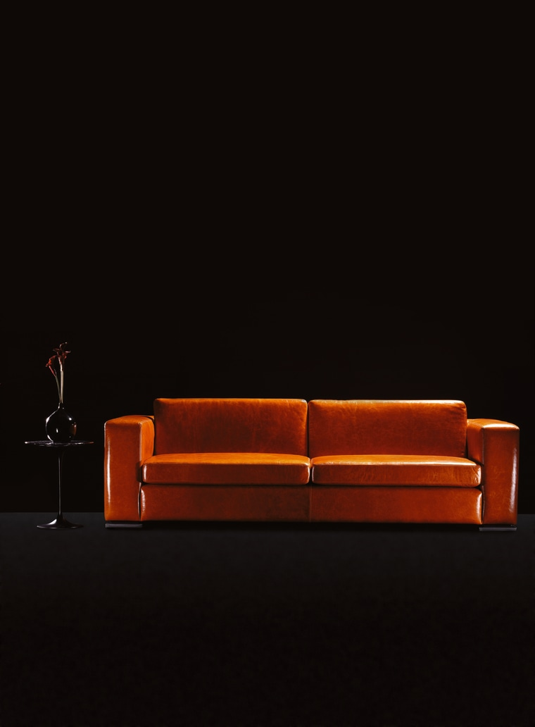 view of the bobcat sofa in Mango leather chaise longue, couch, furniture, orange, product design, sofa bed, table, black