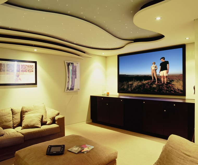 view of the custom designed home theatre and ceiling, home, interior design, living room, room, suite, orange