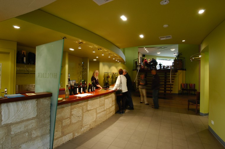 view of the hollick winery bar/tasteing area interior design, lobby, restaurant, brown