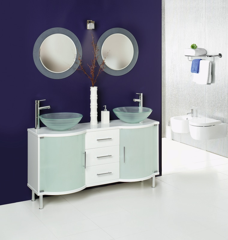 view of the double basin bolce vanity with bathroom, bathroom accessory, bathroom cabinet, bathroom sink, furniture, plumbing fixture, product, product design, purple, sink, tap, white, purple