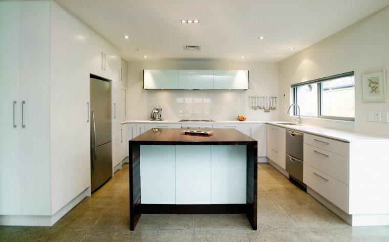 A view of a kitchen area, concrete tiled cabinetry, countertop, cuisine classique, interior design, kitchen, property, real estate, room, gray