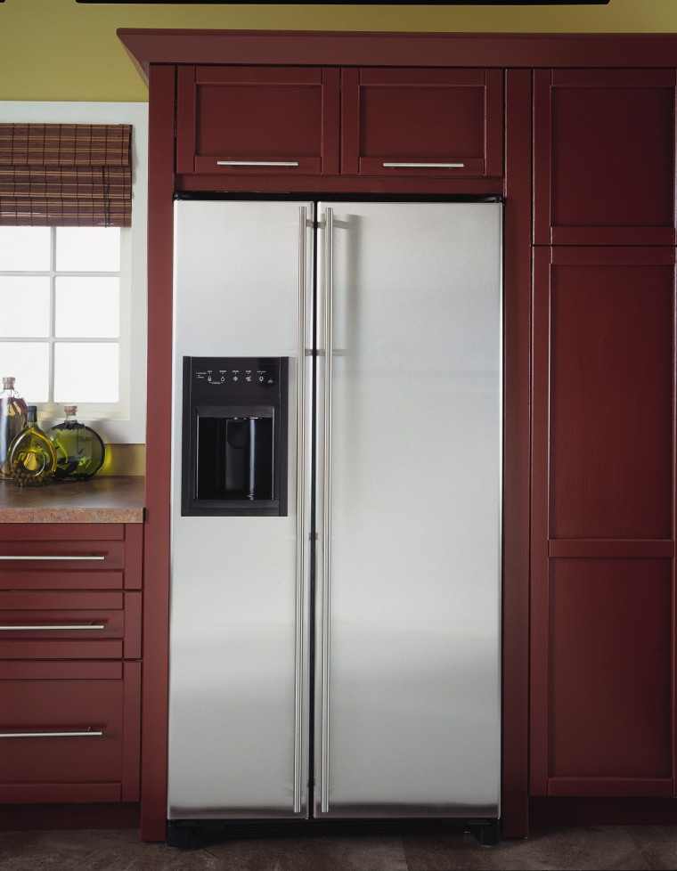 An example of attractive and practical fridges and cabinetry, home appliance, kitchen, kitchen appliance, major appliance, product, refrigerator, red, gray