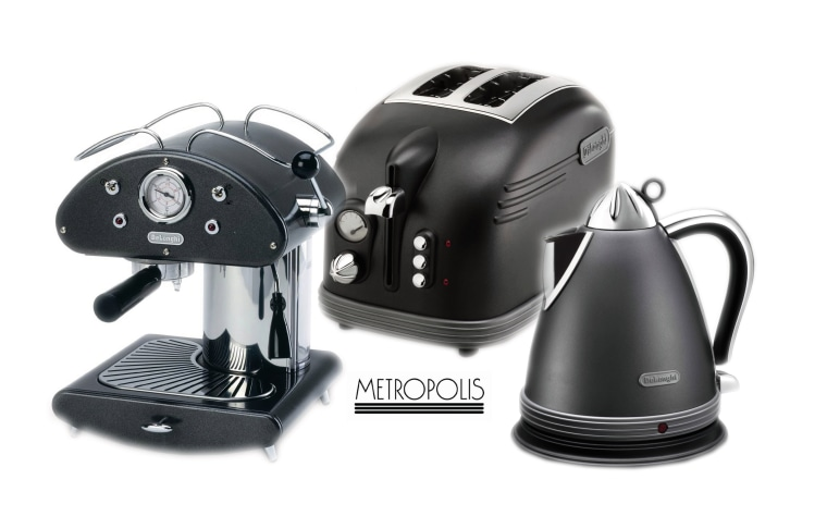 A view of some black appliances. coffeemaker, espresso machine, home appliance, kettle, product, product design, small appliance, white