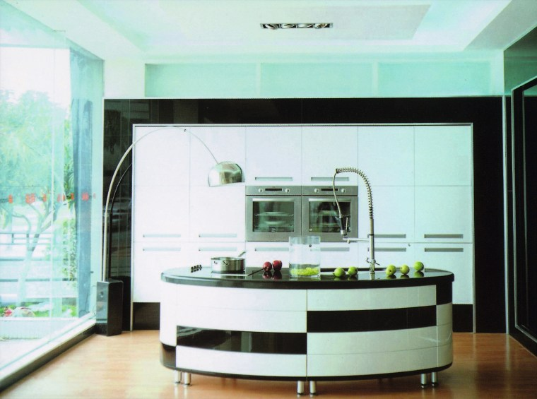 view of this kidney shaped island finished in countertop, interior design, kitchen, white, teal