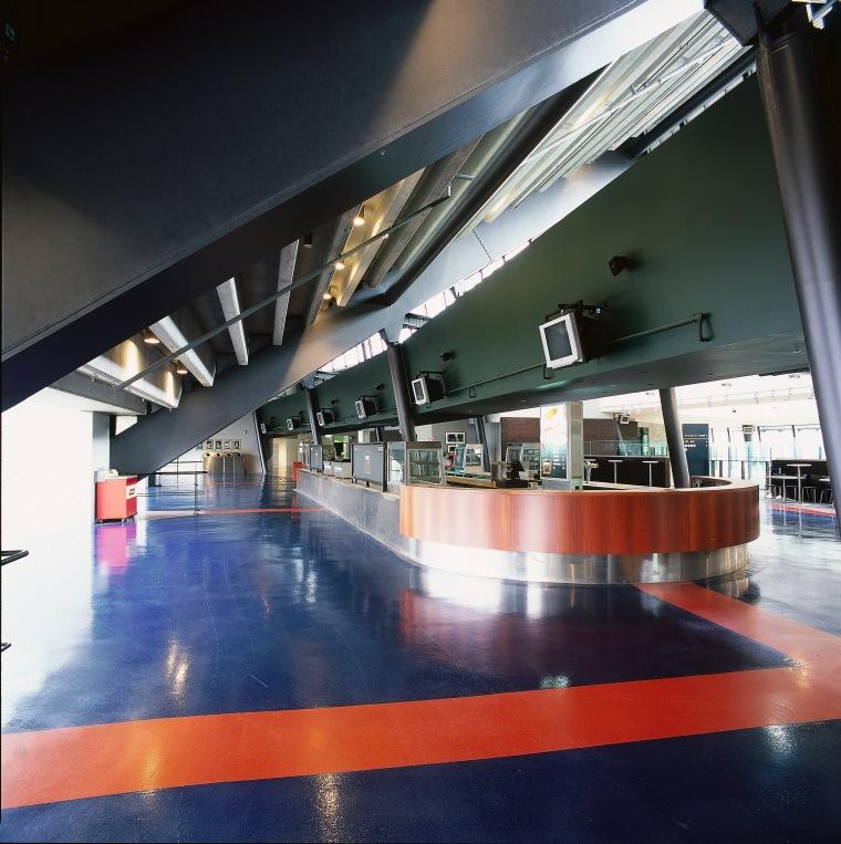 Stadium bar area with blue and red epoxy architecture, interior design, leisure centre, structure, black
