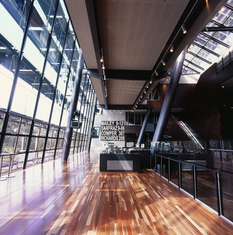Atrium bistro area with extensive glazing and solid architecture, building, ceiling, daylighting, interior design, lobby, performing arts center, structure, tourist attraction, wood, black