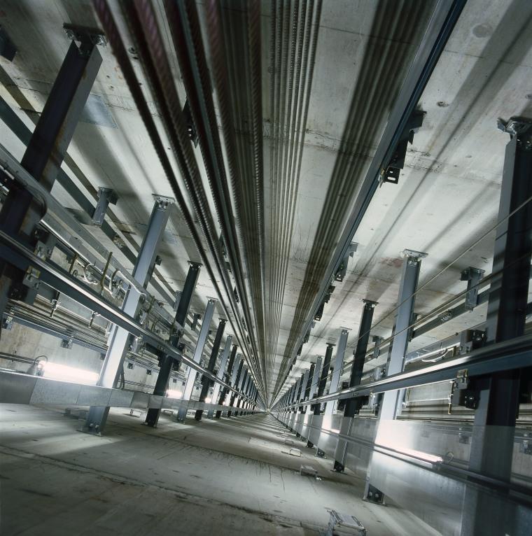 View of lift shaft. architecture, building, daylighting, metropolis, metropolitan area, structure, gray, black