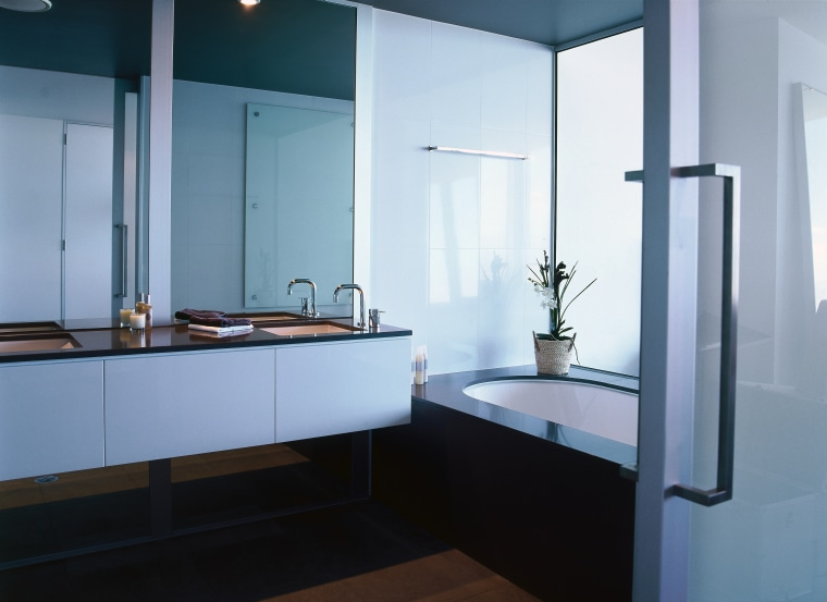 Bathroom with white bath and cabinetry and black bathroom, bathroom accessory, countertop, glass, interior design, product design, room, sink, teal, black