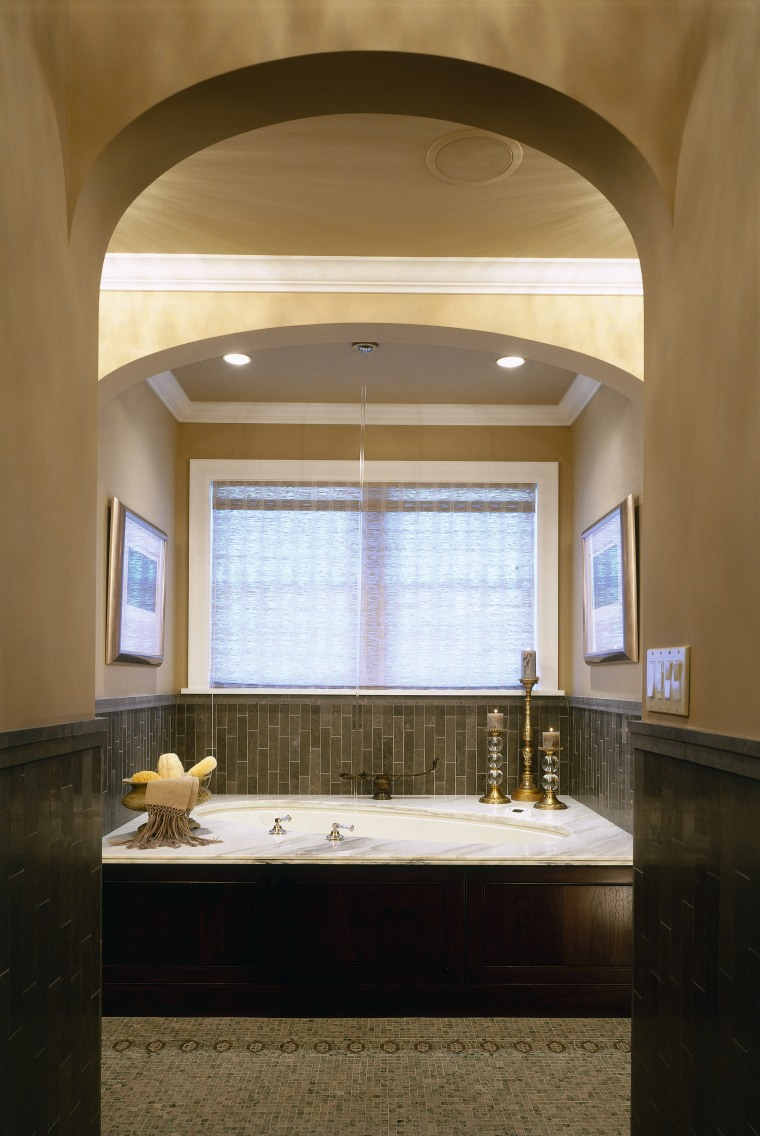 A view of the bathroom, tiled floor and architecture, bathroom, ceiling, daylighting, estate, home, interior design, real estate, room, window, brown