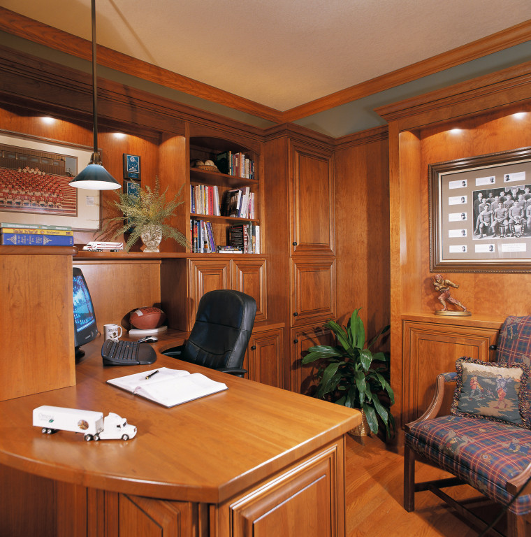 Room with timber desk, shelving, cabinetry and wall cabinetry, ceiling, furniture, interior design, room, brown