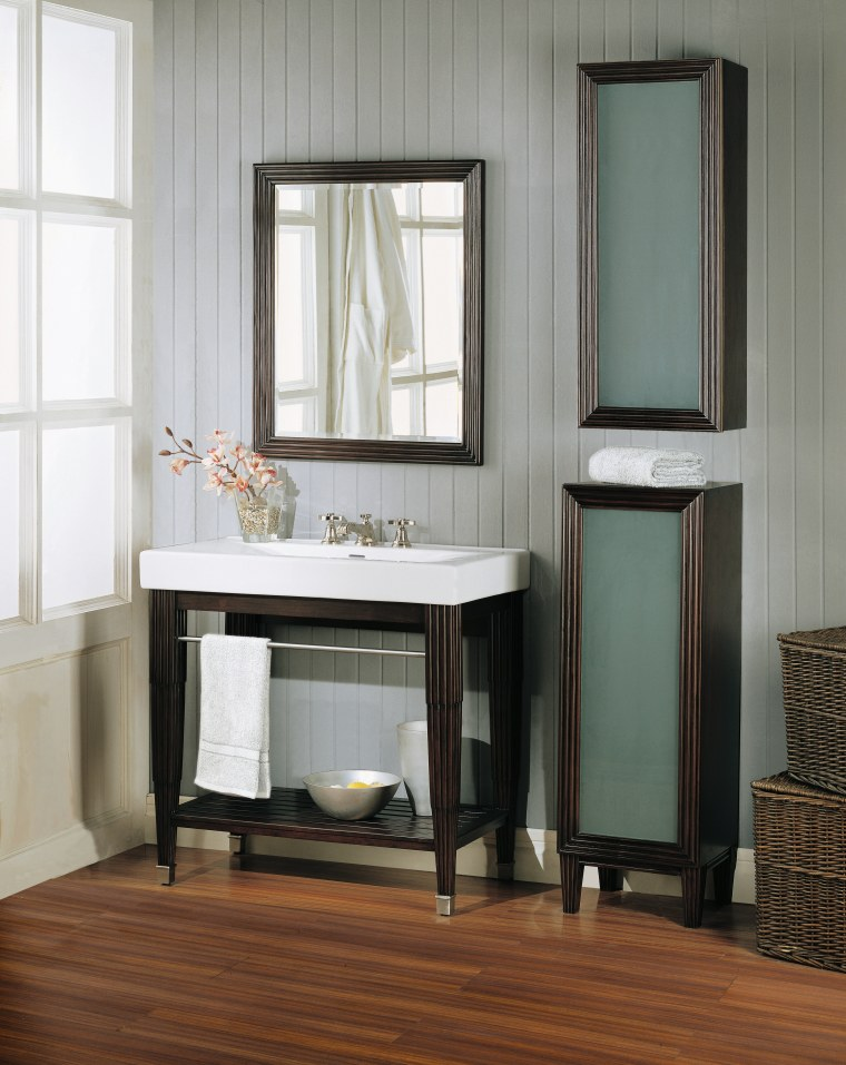 view of the designer bathroomware from fairmont design, bathroom accessory, bathroom cabinet, chest of drawers, floor, furniture, hardwood, interior design, shelf, shelving, table, window, gray