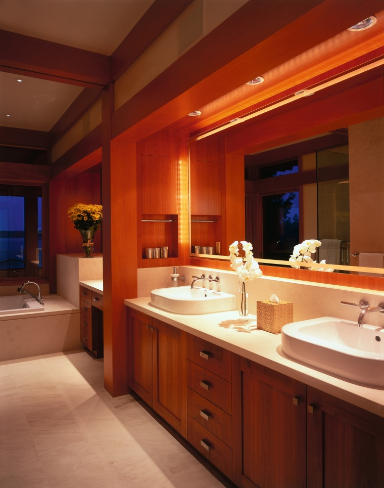 view of this bathroomvanity featuring cherry wood cabintery, bathroom, cabinetry, ceiling, countertop, interior design, kitchen, lighting, room, red