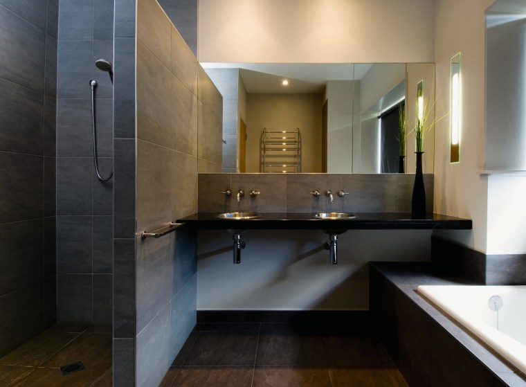 A view of a bathroom by NKBA. architecture, bathroom, countertop, floor, interior design, kitchen, room, sink, black