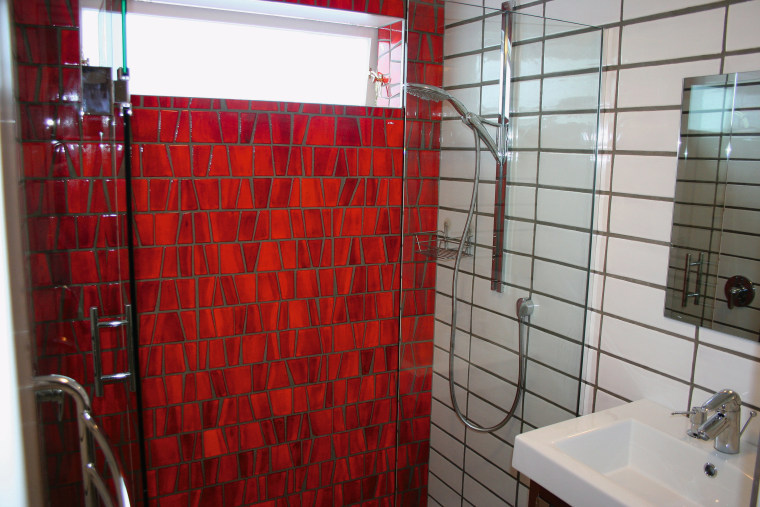 A view of some tiles from The Middle bathroom, flooring, interior design, property, room, tile, red, gray