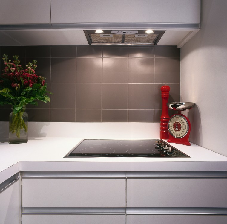 view of the smeg electric hob and powerpack countertop, interior design, kitchen, product design, sink, tile, gray