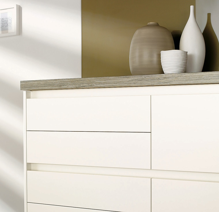 A view ofsome laninex benchtops. chest of drawers, drawer, furniture, product, product design, sideboard, white