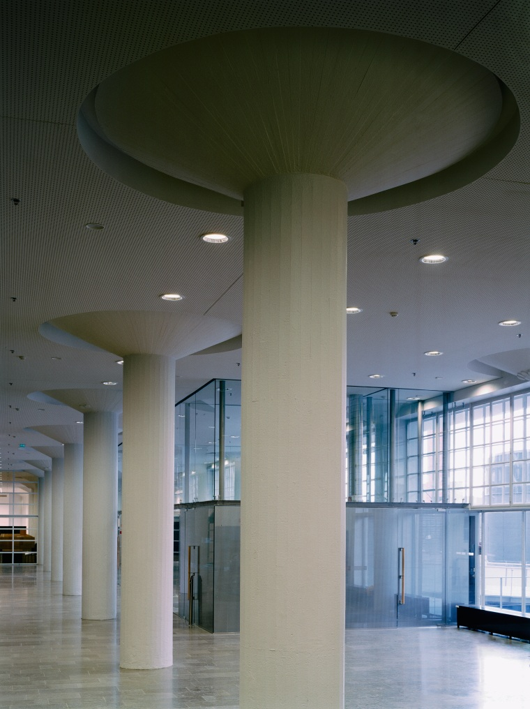 A view of the lobby area. architecture, ceiling, column, daylighting, daytime, glass, interior design, lobby, structure, tourist attraction, gray