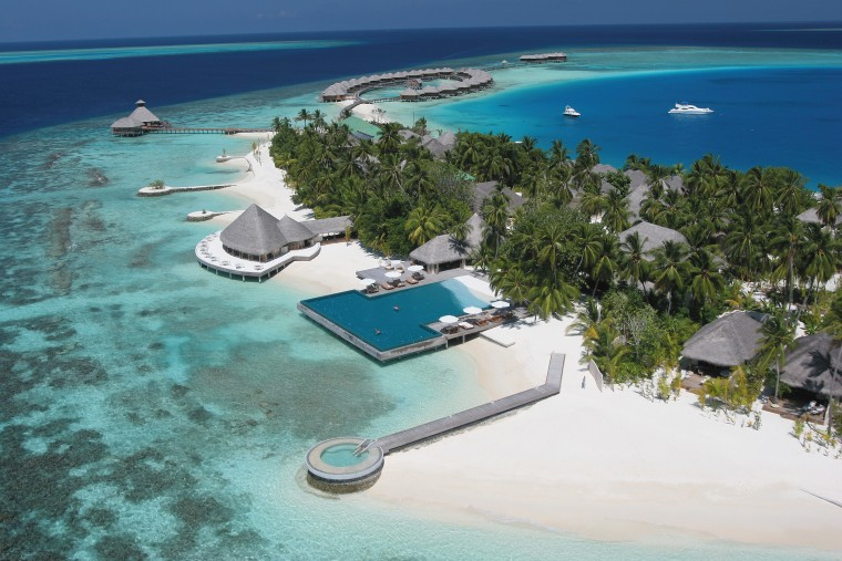 An aerial view of the entire complex. atoll, bay, caribbean, coastal and oceanic landforms, inlet, island, lagoon, leisure, resort, resort town, swimming pool, tourism, tropics, vacation, water resources, teal