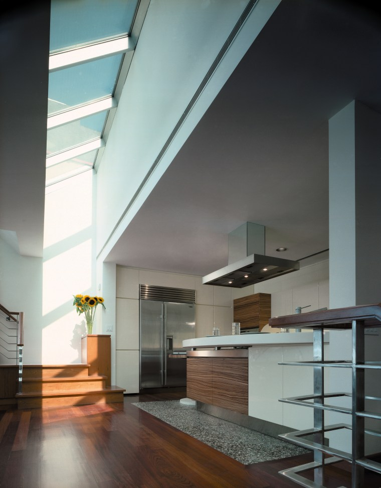 View of the kitchen featuring stainless steel sub-zero architecture, ceiling, daylighting, glass, house, interior design, loft, gray, black