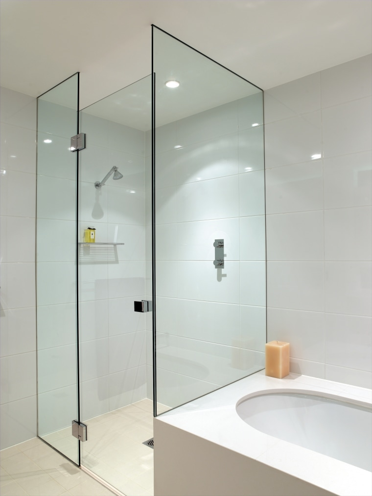 A view of a shower screen from Erina angle, bathroom, glass, interior design, plumbing fixture, product design, room, shower, shower door, tap, wall, gray