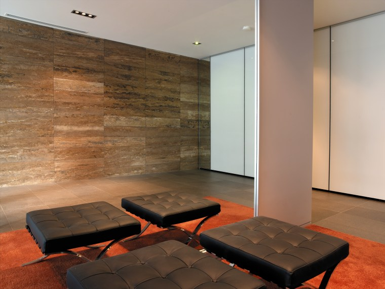 A view of a tiled feature wall by architecture, ceiling, floor, flooring, hardwood, interior design, laminate flooring, table, wall, wood, wood flooring, brown, gray