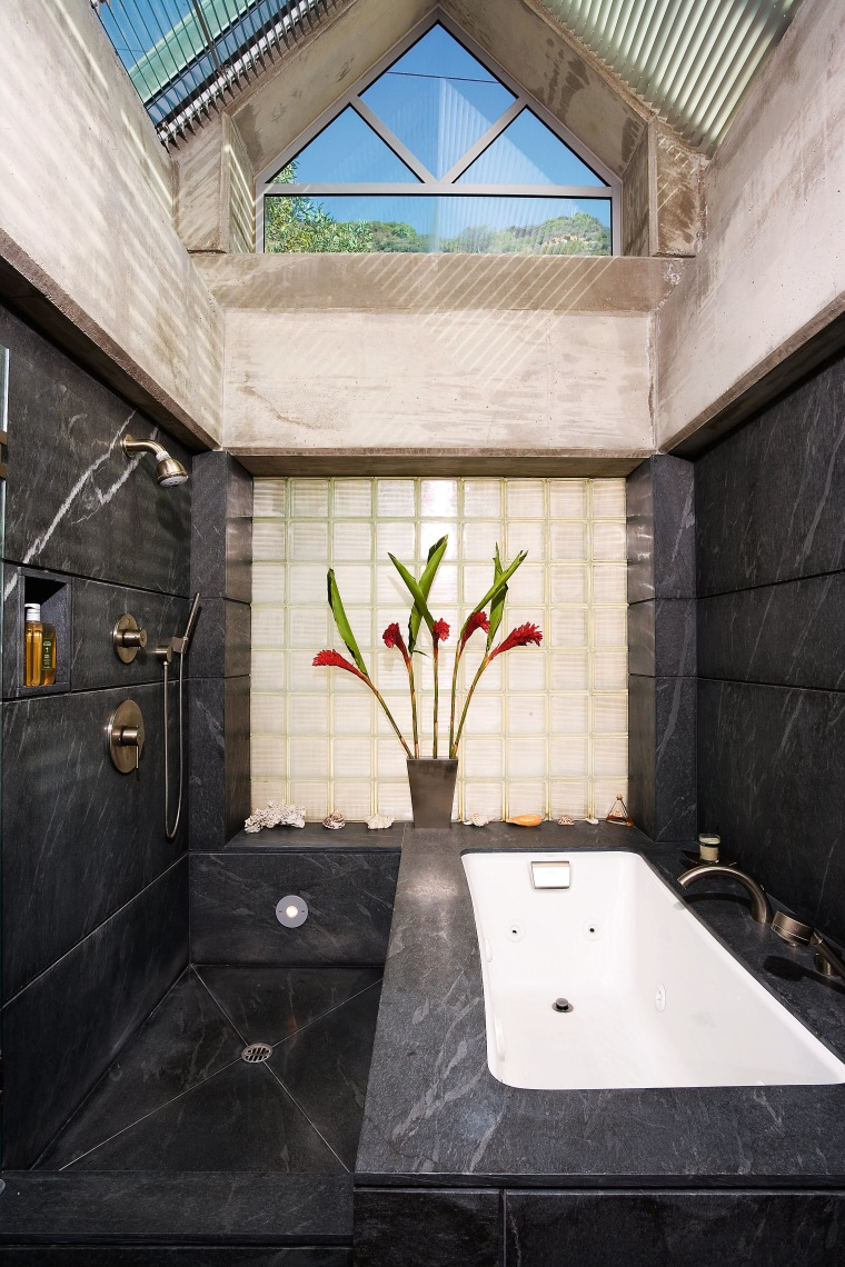 A view of a bathroom designed by David architecture, bathroom, daylighting, estate, home, house, interior design, property, real estate, wall, window, black, white