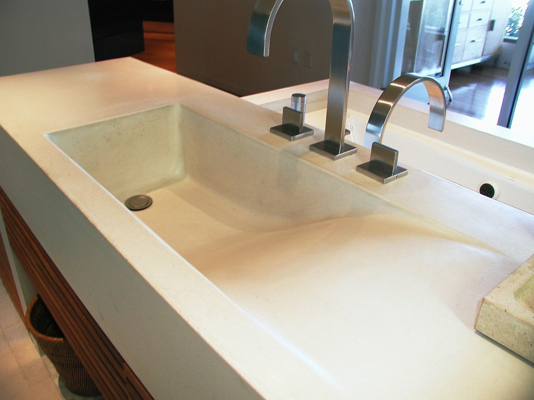view of this contemporary concrete sink from Dex bathroom, bathroom sink, countertop, floor, plumbing fixture, product design, sink, tap, white