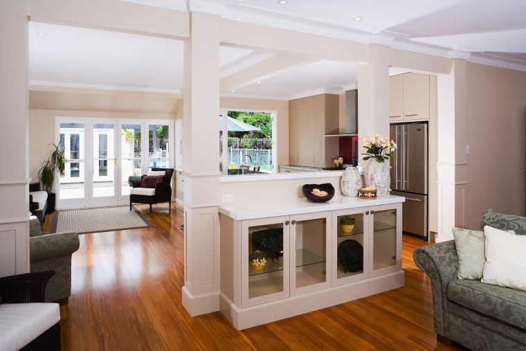A view of the kitchen area, wooden flooring, floor, interior design, living room, real estate, room, window, gray