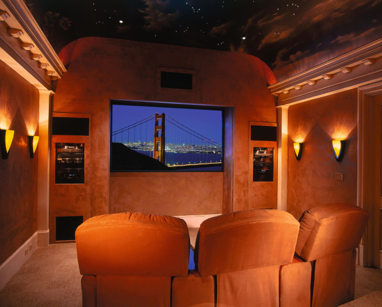 View of home theatre room with orange coloured ceiling, entertainment, home, interior design, lighting, room, theatre, red