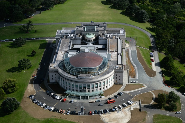 The Auckland War Memorial Museum, inaugurated in 1929, aerial photography, bird's eye view, city, brown, black, gray
