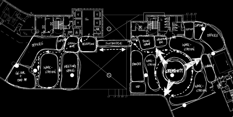 A view of the new MMoser-designed Hong Kong area, black and white, design, font, graphic design, line, monochrome, pattern, product, structure, technology, text, black