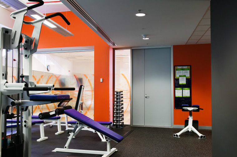 A view of the interior offices of the gym, interior design, product design, room, structure, black, gray