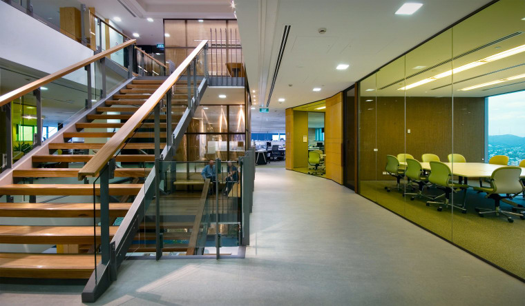 A view of the stairs feand offices in interior design, lobby, stairs, gray, brown