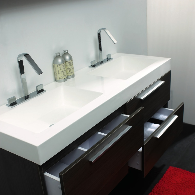 A view of a bathroom vanity from Tonusa. angle, bathroom, bathroom accessory, bathroom cabinet, bathroom sink, countertop, plumbing fixture, product design, sink, tap, gray, black
