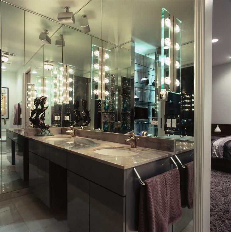 A view of the master ensuite, tiled floor bathroom, countertop, glass, interior design, black