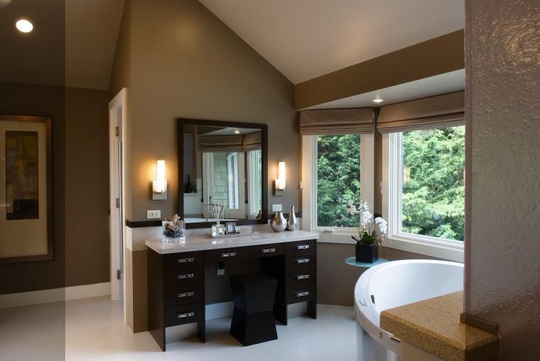 A view of a bathroom designed by Petersen bathroom, estate, interior design, room, brown, gray