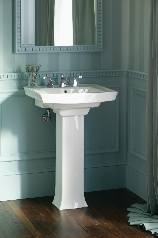 The Kohler Archer Suite, witch includes a pedestal bathroom, bathroom accessory, bathroom cabinet, bathroom sink, floor, flooring, interior design, plumbing fixture, product design, room, sink, structure, tap, tile, gray, black