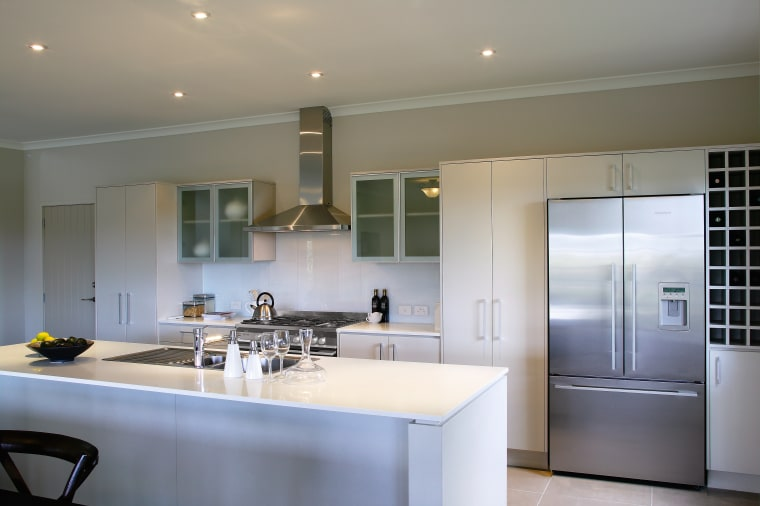 A view of some kitchen appliances from Fisher architecture, cabinetry, countertop, cuisine classique, interior design, kitchen, real estate, room, gray