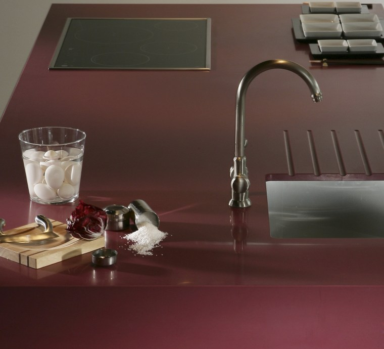 Other silestone surfaces include, Koan and Gedastu from floor, flooring, plumbing fixture, product design, sink, still life photography, table, tap, red