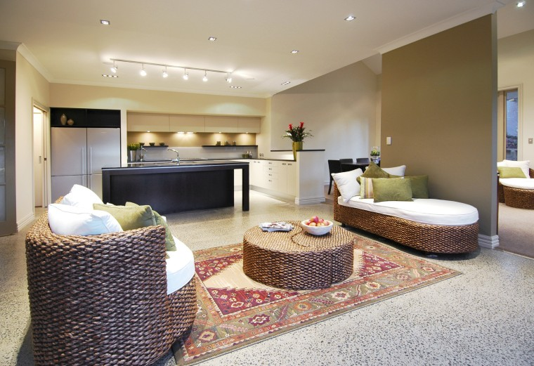 The kitchen is in the centre of the floor, interior design, living room, real estate, room, suite, gray