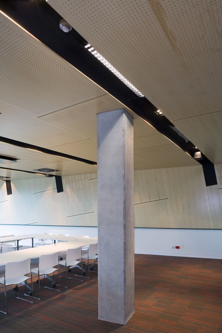 A view of Eco Conrete used in the architecture, beam, ceiling, daylighting, glass, interior design, line, product design, structure, tourist attraction, wood, gray, brown