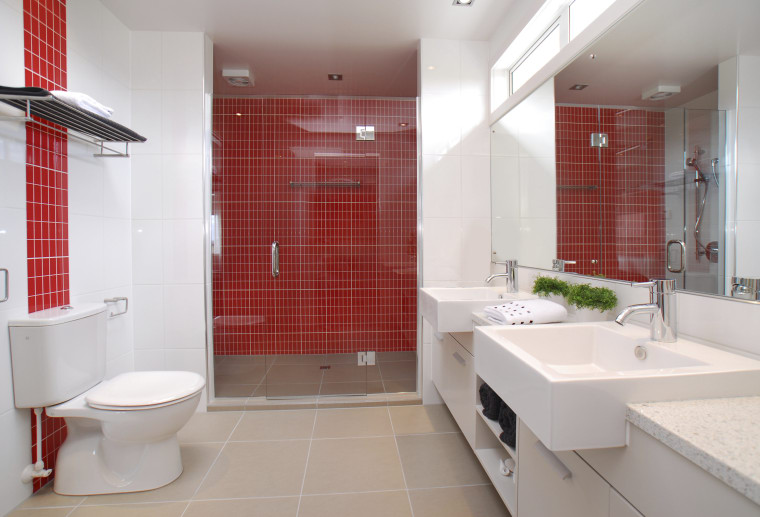 Bright feature wall tiles create a light, contemporary bathroom, floor, home, interior design, property, real estate, room, tile, gray, red