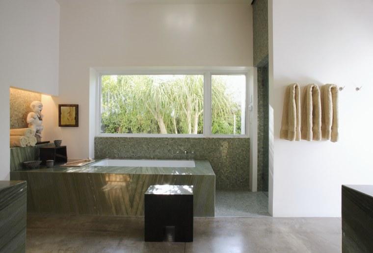 The master bathroom of this summer house set architecture, bathroom, estate, floor, flooring, home, interior design, property, real estate, room, sink, window, gray