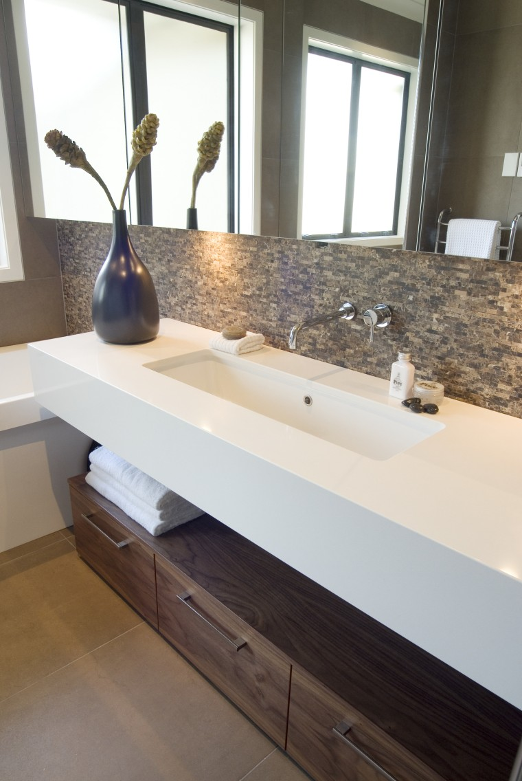 A view of some bathroomware from Robertson Agencies. bathroom, countertop, floor, flooring, hardwood, interior design, plumbing fixture, room, sink, tile, wood, white, gray