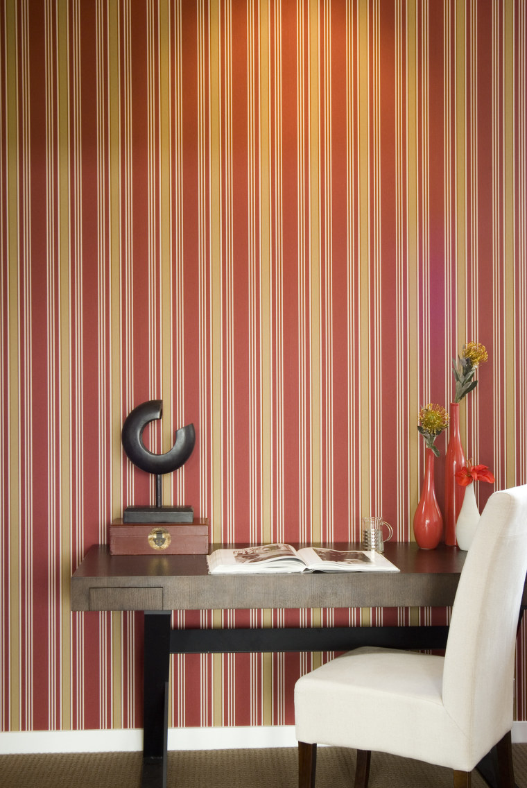 A view of some wallpaper from Vision Wallcoverings. curtain, decor, interior design, table, textile, wall, wallpaper, window, window blind, window covering, window treatment, red