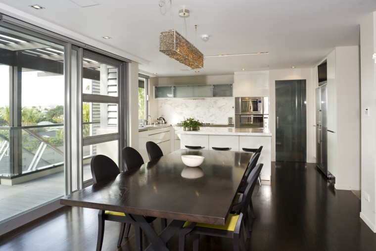 A view of a home by Santa Barbara dining room, house, interior design, property, real estate, room, table, window, gray
