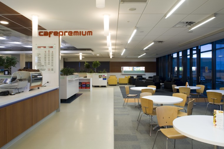 Furniture found throughtout the buildings, including in the cafeteria, institution, interior design, office, gray