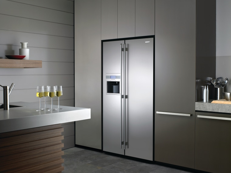 Electroluxs E:lie side-by-side refrigerator combines a large capacity home appliance, kitchen, kitchen appliance, major appliance, product design, refrigerator, gray, black