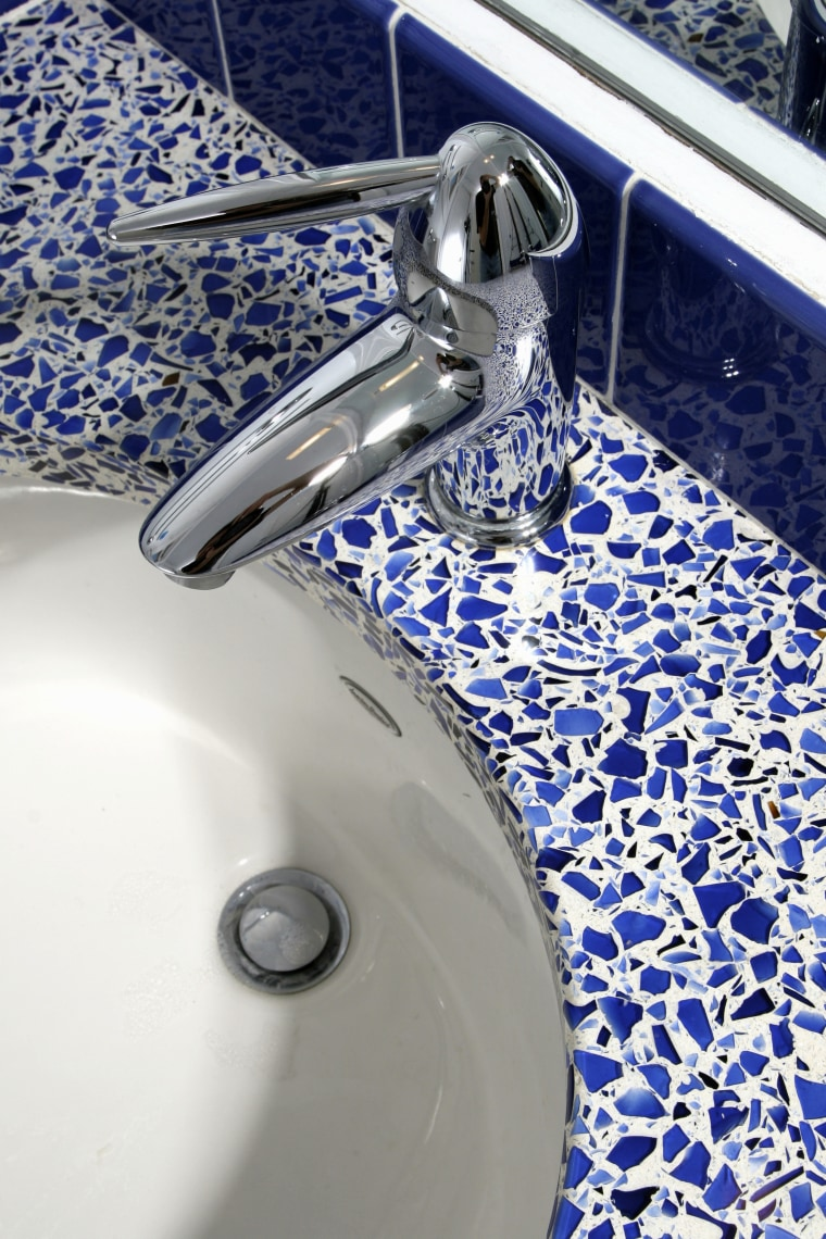 A view of some vanities from vetrazzo. blue, water, white, blue, gray